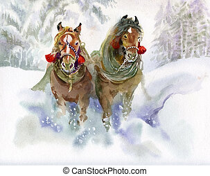 executando, inverno, cavalos