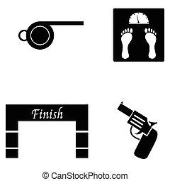 executando, jogo, ícone