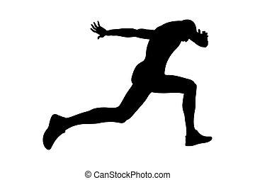 executando, linha acabamento, atleta, corredor