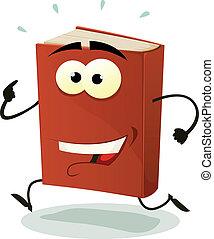 executando, livro, personagem, vermelho, feliz