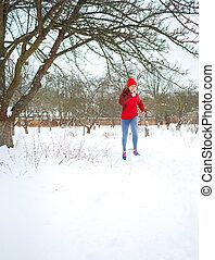 executando, mulher, desporto, inverno