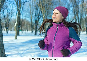 executando, mulher, inverno, feliz