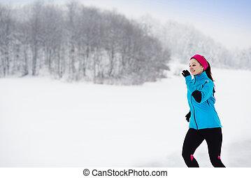 executando, mulher, inverno