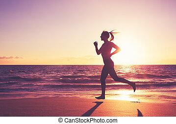 executando, mulher, pôr do sol