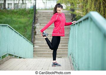 executando, mulher, preparar, condicão física