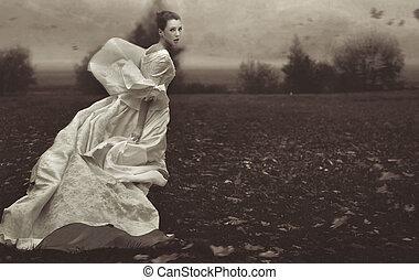 executando, mulher, sobre, natureza, fundo, em, preto branco
