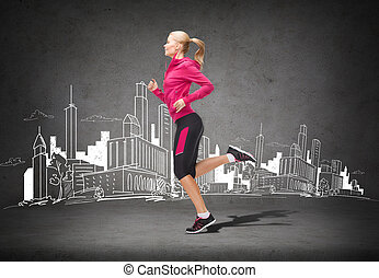 executando, mulher, sporty, pular, ou