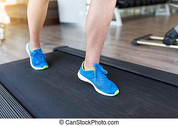 executando, mulher, treadmill