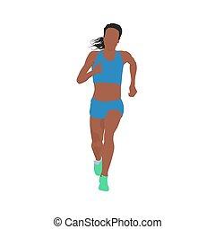 executando, mulher, vetorial, illustration., vista dianteira
