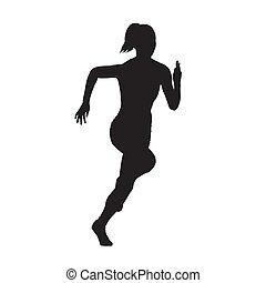 executando, mulher, vista dianteira, vetorial, silueta