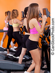 executando, mulheres, grupo, treadmill