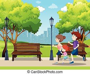 executando, parque, cena, família