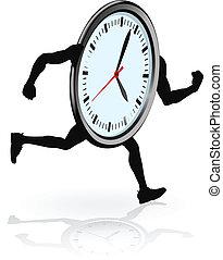 executando, personagem, relógio