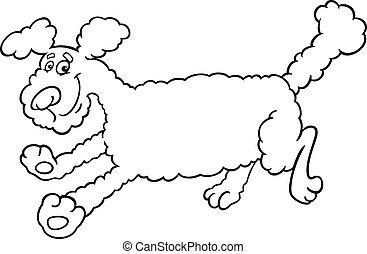 executando, poodle, caricatura, para, coloração