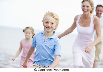 executando, praia, sorrindo, família