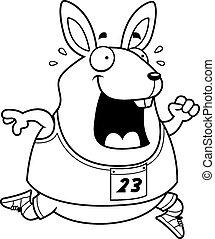 executando, raça, caricatura, coelho