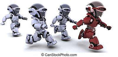 executando, robôs