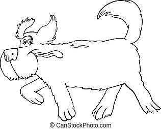 executando, sheepdog, caricatura, para, coloração