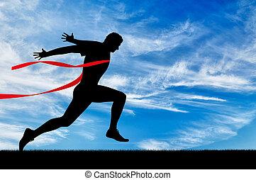 executando, sports., homem, corredor
