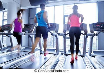 executando, treadmills, grupo, pessoas