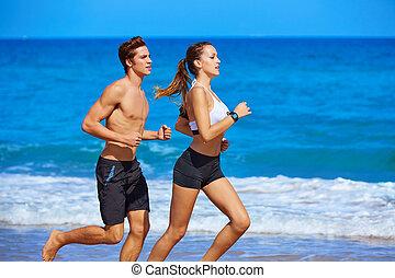 executando, verão, par, praia, jovem