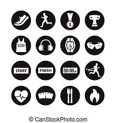executando, vetorial, ícone, jogo