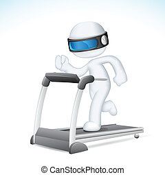 executando, vetorial, 3d, homem, treadmill