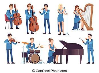 executar, piano, concerto, caráteres, orquestra sinfonia, ...