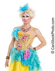 executar, yellow-blue, rainha, vestido, arrastar