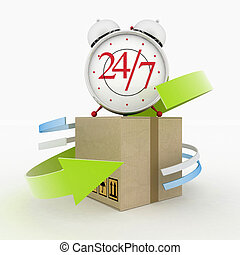 Executing online delivery of goods in the stream 24 hours. Logistics concept