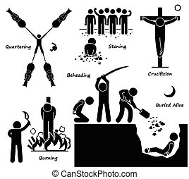 A set of human pictogram representing the ancient old methods of execution and death penalty by capital punishment. It includes quartering by horse, stoning, crucifixion, burn to death, beheading, and buried alive.