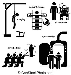 A set of human pictogram representing the modern methods of execution and death penalty by capital punishment. It includes hanging, lethal injection, electrocution, shooting by firing squad, and gas chamber.