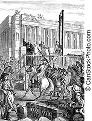 Execution of King Louis XVI - An engraved illustration...