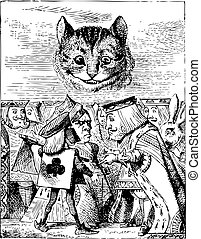 Executioner argues with King about cutting off Cheshire Cat?s head - Alice's Adventures in Wonderland original vintage engraving. When she got back to the Cheshire Cat, she was surprised to find quite a large crowd collected round it: there was a dispute going on between the executioner, the King, ...