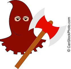 Executioner with axe, illustration, vector on white background.
