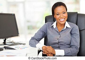 executiva, africano, escritório, sentando