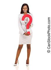 executiva, africano, pergunta, segurando, marca