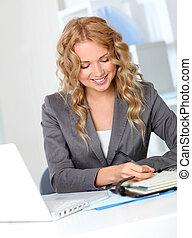 executiva, agenda, escritório, escrita