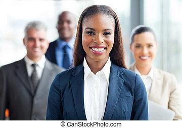 executiva, americano, colegas trabalho, africano