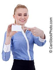 executiva, apontar, dela, cartão negócio