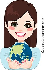 executiva, asiático, segurando, mundo