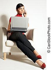 executiva, atractive, laptop, brunet, telefone