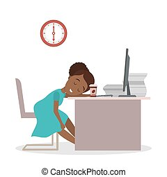 executiva, cansadas, escritório.