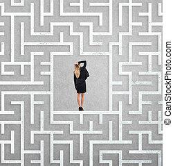 executiva, centro, labirinto, confundido