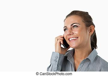executiva, cima, olhar, telefone, fundo, fim, branca, diagonalmente, cima