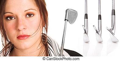executiva, com, cabelo marrom, e, equipamento golfe