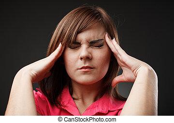 executiva, com, dor de cabeça