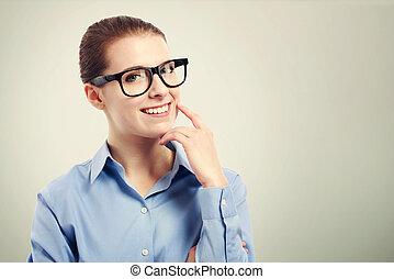 executiva, com, grande, olho preto, óculos