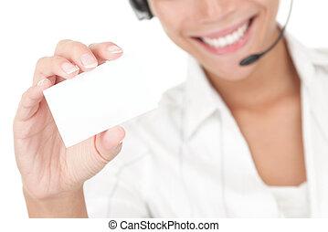 executiva, com, headset, segurando, cartão negócio