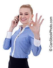 executiva, com, telefone, e, ok, gesto